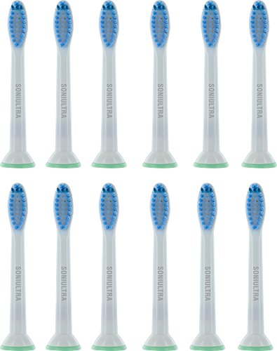 Soniultra 12 Pack Replacement for Sensitive Standard Toothbrush Heads for HX6054/05 Philips Sonicare Compatible Model Electric Head plaque control gum health DiamondClean HealthyWhite Electronic Brush by Soniultra