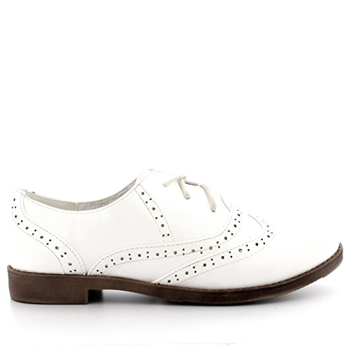 Viva Womens Brogue Wing Cap Work Vintage Formal Designer Office Flat Shoes White Patent 2nmOK
