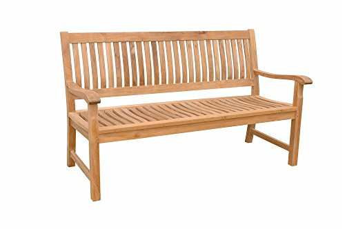 Anderson Teak Del-Amo 3-Seater Bench, Dupione Palm (Teak Bench Seater Three)