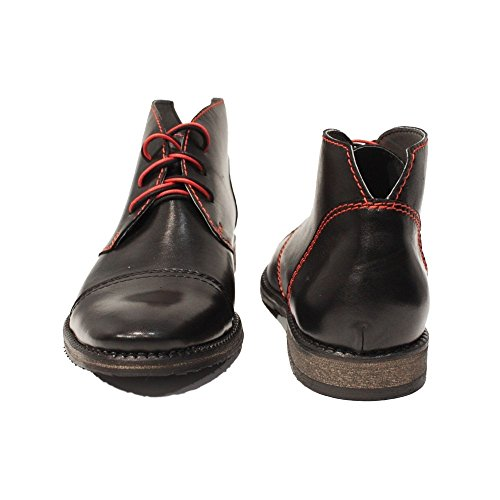 PeppeShoes Modello Matamo - Handmade Italiano da Uomo in Pelle Nero Chukka Boots - Vacchetta Pelle Morbido - Allacciare