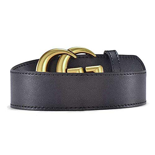 Women's Black Leather Belt Fashion Golden Buckle Girls Ladies Casual Waist Belts for Jeans Pants Dresses, (2.0x100cm) ()