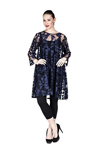 einzi garte Designer Mujer Blusa De 100% poliéster jacquard tejido, túnica con tul transparente–Plus Size también en Nueva York
