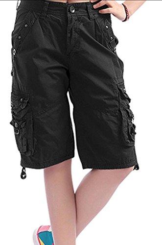 Earnest Women's Multi-Pockets Loose Cotton Camouflage Twill Cargo Shorts black XS