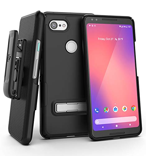 Encased Ultra Slim Belt Clip Holster Designed for Google Pixel 3 Case (2018) Thin Fit Combo Cover w/Metal Kickstand - Black