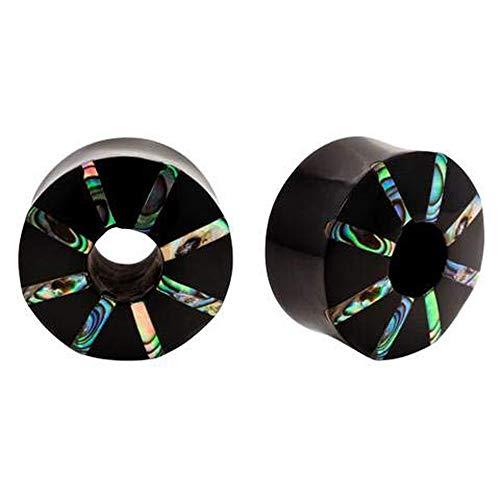 Pair | Abalone & Horn Pinwheel Double Flared Organic Saddle Plugs | 2g | 6mm