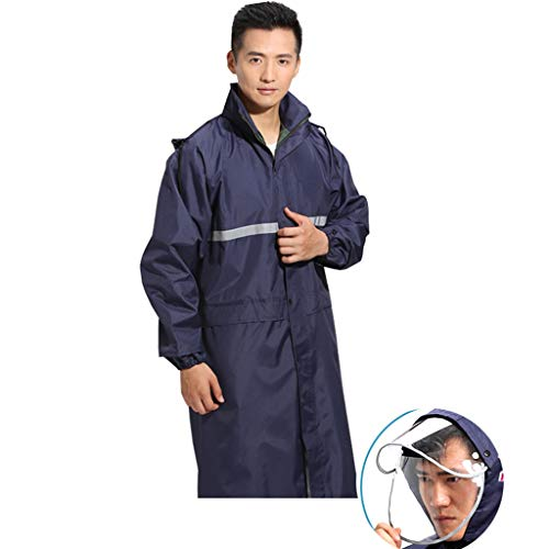 Conjoined Hat - QIYUEYU Raincoat, Super Long Double Hat Raincoat Double Raincoat Conjoined Long Adult Men and Women Outdoor Hiking (Color : Blue, Size : XXXL)