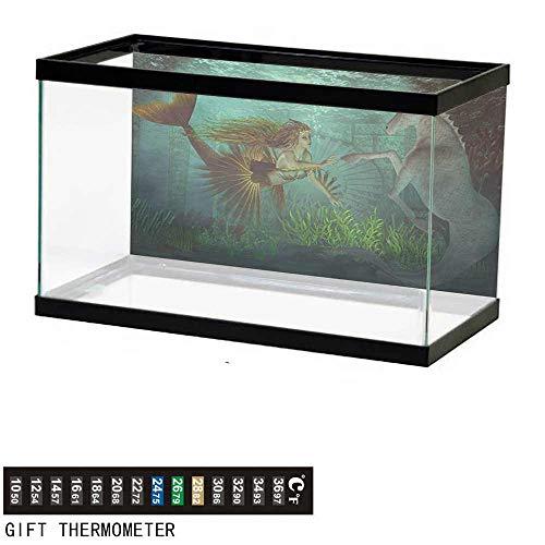 wwwhsl Aquarium Background,Mermaid,Mermaid Meets Seahorse Underwater World Fantasy Magical Fairytale Design,Aqua Green Amber Fish Tank Backdrop 48