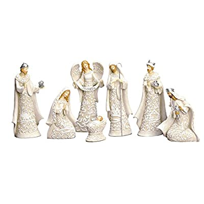 Nativity Sets Exclusive 7-Piece Nativity Set, Features The Holy Family with The 3 Kings and a Gloria Angel, 7.5-Inch