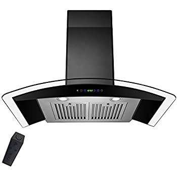"AKDY 36"" Stainless Steel Tempered Glass Wall Mount Range Hood With Remote Control Touch Button Control"