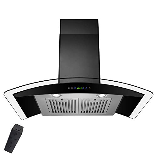AKDY 36 in. Convertible Wall Mount Range Hood in Black Painted Stainless Steel with Tempered Glass and Remote Control