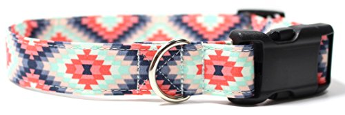 "Aztec Summer Pink and Mint, Designer Cotton Dog Collar, Adjustable Handmade Fabric Collars (M - 1"")"