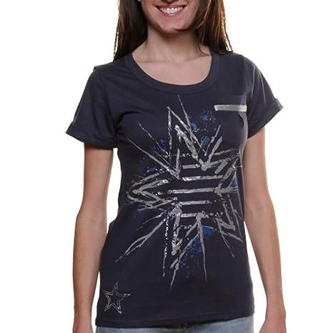 Amazon.com   Dallas Cowboys Women s Lila Mae Pocket T-Shirt Navy ... 6bb21bc35