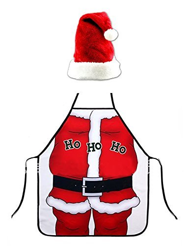 Funny Christmas Apron, Hilarious Santa Claus Apron and Plush Christmas Hat Red Christmas Cap Santa Cosplay Costume for Adults Kids Children by DomeXmas