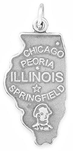 Oxidized Sterling Silver Charm, State of Illinois, 1-1/4 inch