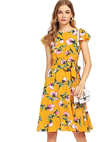 Floerns Women's Floral Print Ruffle Tie Waist Summer Chiffon Dress Yellow-1 L
