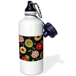 "3dRose wb_80612_1 ""Painted Deep Red Golden Orange n Olive Green Floral On Black"" Sports Water Bottle, 21 oz, White"