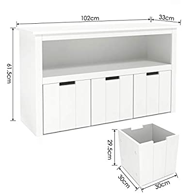 Homfa Kids Toy Storage Cabinet, Toddler's Room Chest Cabinet 3 Drawers with Wheels and Large Storage Cube Shelf for Children's Bedroom Playroom, White
