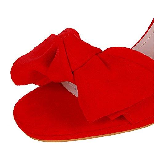z&dw Elegantes tacones dulces tacon de gamuza impermeables de mesa de proa sandalias Rojo