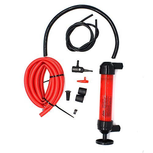 MOTONG Hand Siphon Pump Manual Plastic Sucker Pump With Two - 50 x ½ Inch Hoses For Gas, Oil, Air, & Other Fluids in Emergency case (Hand Siphon Pump)