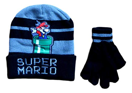 Super Mario Boys Beanie Hat and Gloves Set -