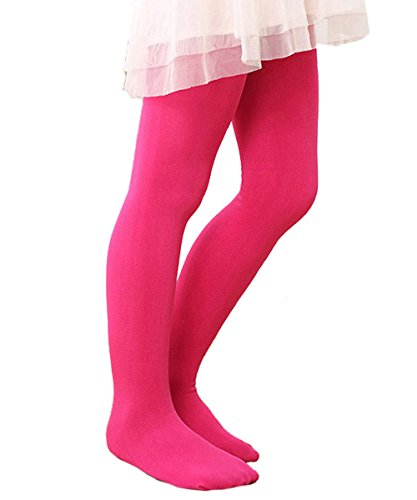 Zando Girls Stretchy Comfort Cotton Colorful Leggings Elastic Footed Tights Rose Red Large