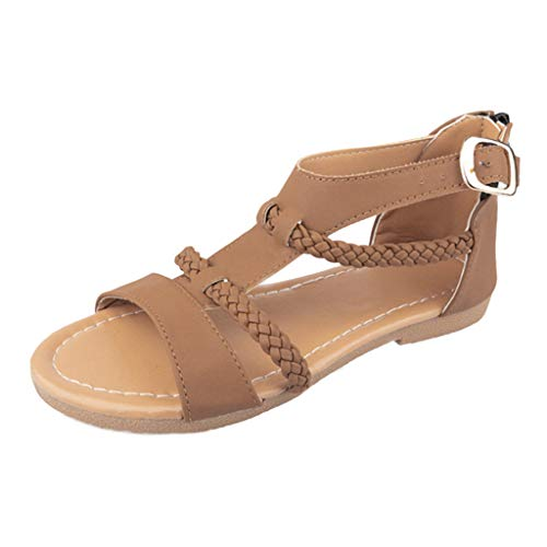 ♡QueenBB♡ Women's Open Toe Fashion Buckle Crisscross Gladiator Ankle Straps Summer Design Flat Sandals Brown -