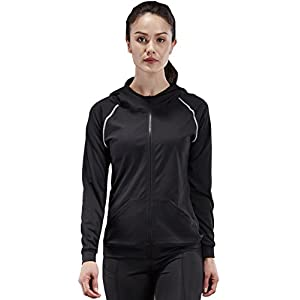 Neleus Women's Slim Fit Active Sports Hoodie Jacket,1001,Black / Grey Stripe,US M,EU L