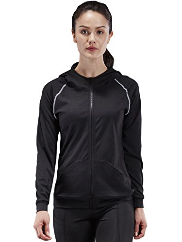 Neleus Women's Slim Fit Active Sports Hoodie Jacket,1001,Black / Grey Stripe,US M,EU - Us 1001