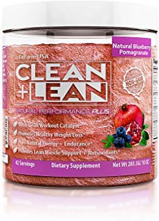 """CLEAN+LEAN NATURAL PERFORMANCE""""PLUS"""" by FitFarm USA: Ultra-Clean Workout Catalyst + Healthy Weight Loss Blend, Lean Muscle BCAA's, and Powerful Antioxidants- 100% NON-GMO Ingredients 42 Svgs, 10oz"""