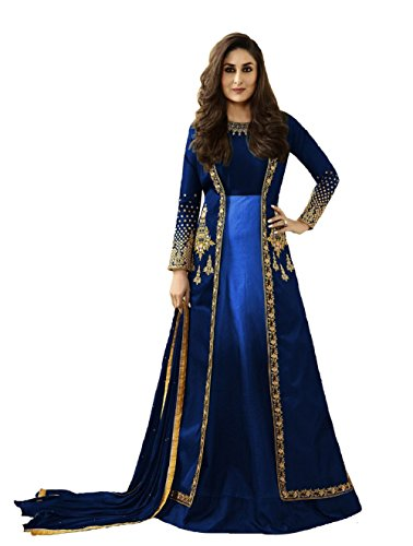 New Indian/Pakistani Designer Georgette Party Wear Anarkali Suit Anarkali Gown K1 (Blue, Unstitch)