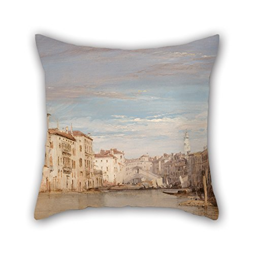 both Sides The Grand Canal Slimmingpiggy Throw Pillow Case 18 X 18 Inches // 45 By 45 Cm Venice Nice Choice For Outdoor,indoor,club,office,husband,dance Room Oil Painting Richard Parkes Bonington