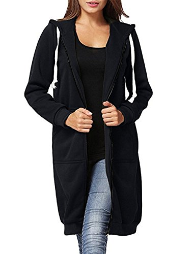 EGELBEL Women's Casual Plus Size Full Zip up Long Fleece Hoodies Tunic Sweatshirt Outerwear Jacket With Kangaroo Pockets,Black,XXXX-Large ()