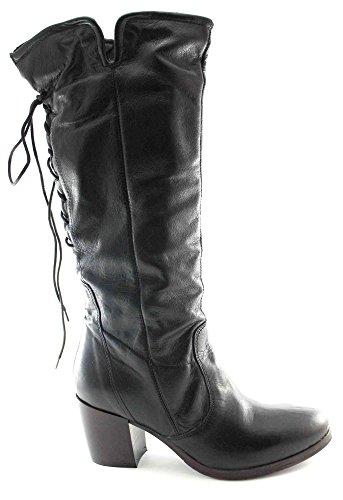 CAFèNOIR CAF Noir GE101 Postal Negro de Cuero Zapatos de Tacón Botas de Las Mujeres del Cordón de Ternera Negro