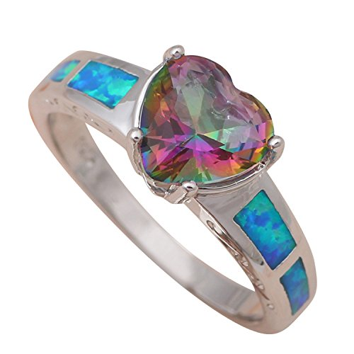 Fantastic 4 Costume Replica (Cherryn Jewelry Fantastic for friends Multicolor Topaz Inlay Blue fire Opal Silver Stamped Ring jewelry USA sz 6 7 8 9 OR643A)