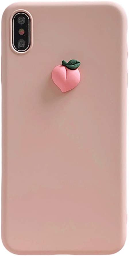 IPLUS 3D Fruit Case Compatible with iPhone 8 Plus / 7 Plus, Cute Carton Peach on Body, Slim Gel Skin Soft TPU Bumper Protective Case Shell Cover(Pink, iPhone 8 Plus / 7 Plus)