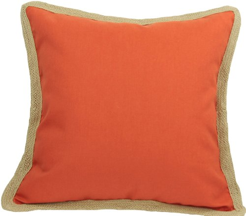 - Manor Luxe Square Classic Jute Trimmed Solid Color Decorative Pillow Feather Filled, 20-Inch, Pumpkin