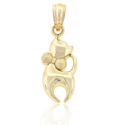 Charm America Gold Cat with Bow Charm - 14 Karat Solid Gold