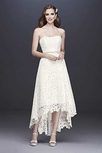 High-Low Tea-Length Corded Lace Wedding Dress Style WG3925, Ivory, 12