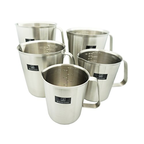 Blackcover Measuring Cup, Stainless Steel Beaker/Measuring Beaker Steaming Frothing Pitcher with Handle 16oz (500ml))