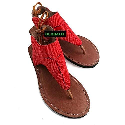 GlobalHandmade African Clothing for Women/Women's Flip-Flop Gladiator Sandals, Sandals for Women, Red, US Size 5-13