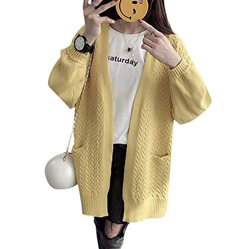 Maglia Monocromo Giacca Gelb Tasche Giubotto Pullover Saoye Manica Donna A Baggy Outerwear Libero Alta Autunno Di Anteriori Fashion Qualità Lunga Giovane Elegante Tempo q6xpwYx8S