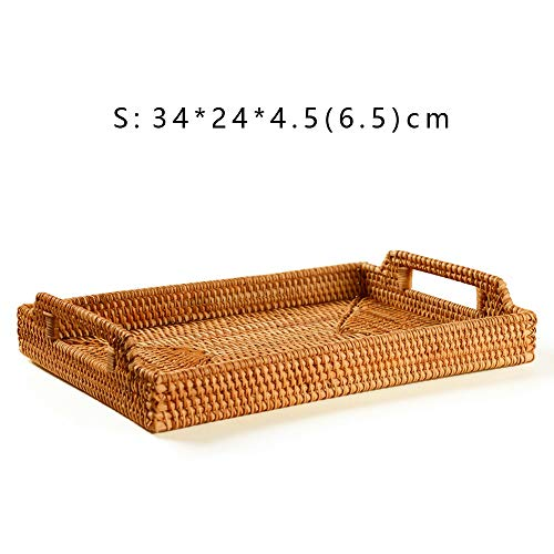 Rattan Handwoven Rectangular High Wall Table Severing Tray Food Storage Platters Plate with Handles(S-34cm)