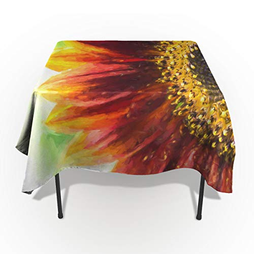 wanxinfu Rectangular Cotton Linen Fabric Tableclothes, Sunflower Petal Image Dust-Proof Table Cover for Kitchen Dinning Tabletop Decoration 54x109in=138x220cm ()