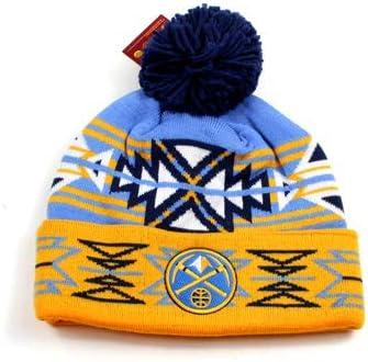 Denver Nuggets Team Colours Tribal Sunburst Design Cuffed Beanie Pom-Pom Hat
