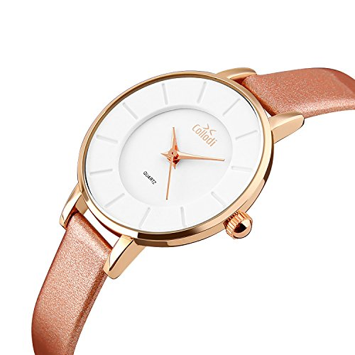 Collodi Leather Wrist Watch For Women: Deluxe Watch With Elegant Genuine Leather Strap, Quartz Movement, Waterproof For Swimming, Stylish Color Design For Casual And Formal Outfits ()