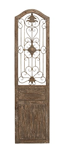 Deco 79 Garden Style Wooden Door with Scrolling Ironwork, 19 by 1 by - Gate Garden Landscape