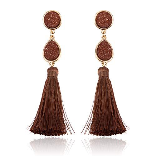 - Sparkly Acrylic Druzy Teardrop Jewel Statement Drop Earrings - Lightweight Silky Thread Faux Stone Dangles Fringe Tassel, Oval Hexagon (Teardrop Tassel - Brown)