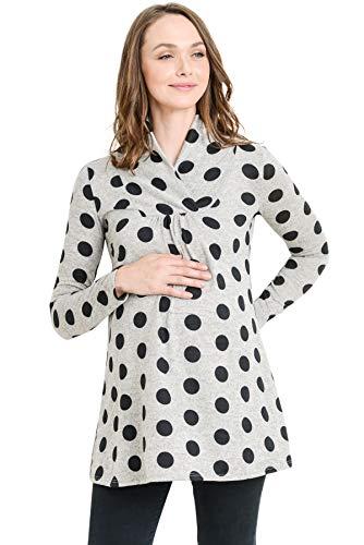 Hello MIZ Women's Sweater Knit Maternity Long Sleeve Polka Dot Tunic Top (Gray/Black Dot, ()