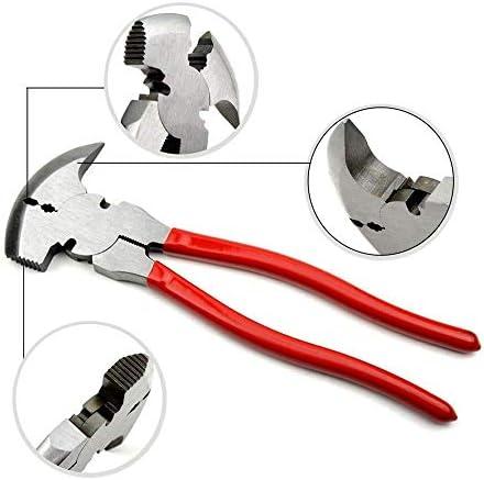 SSY-YU 10「」フェンスプライヤー、CR-V鋼の多目的Professionalはジョーズ、カッター、クリンパー、グリッパー、プラー用ワイヤーカッターフェンシングハマーヘビーデューティツールをパラレル ペンチ 切断工具