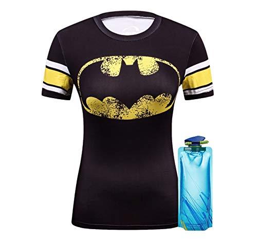 (1Bar Womens Superhero Short Sleeve Compression T Shirt Workout Training Yoga Pilates Shirt Plus Free Water Bottle,)